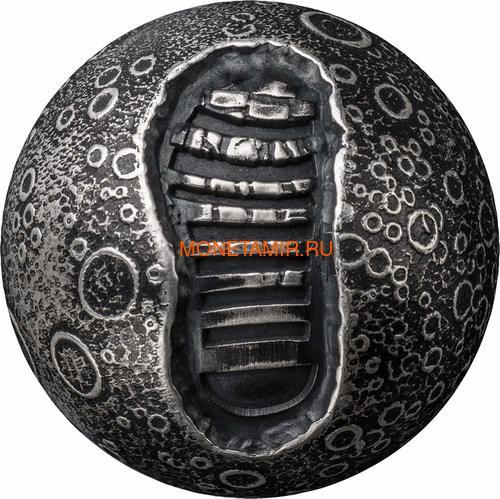Барбадос 5 долларов 2019 Высадка на Луну 50 лет Космос Шар (Barbados 5$ 2019 Moon Landing 50th Anniversary 1 Oz Silver Coin Spherical).Арт.67