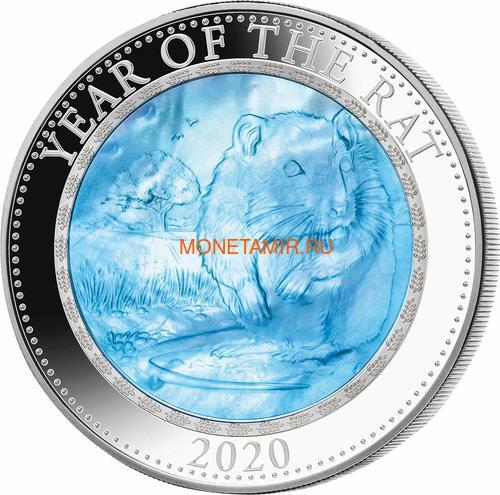 Острова Кука 25 долларов 2020 Год Крысы Лунный Календарь Перламутр (Cook Isl 25$ 2020 Year of the Rat Mother of Pearl 5 Oz Silver Coin).Арт.67 (фото)