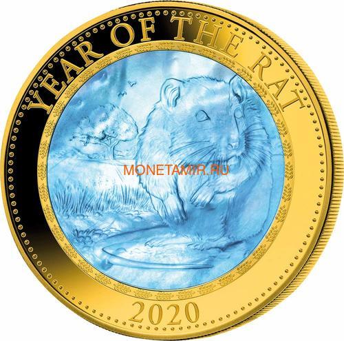 Острова Кука 200 долларов 2020 Год Крысы Лунный Календарь Перламутр (Cook Isl 2020 200$ Year of the Rat Mother of Pearl 5Oz Gold Coin Proof).Арт.67 (фото)