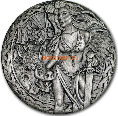 Тувалу 2 доллара 2017 Северные Боги Фрейя (Tuvalu 2$ 2017 Norse Goddesses Freya 2 oz Silver High Relief).Арт.000714354269/67 (фото)