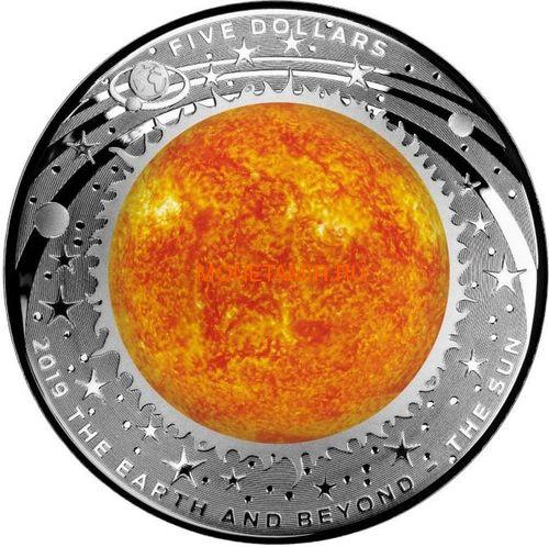 Австралия 5 долларов 2019 Солнце серия За Пределами Земли Выпуклая (Australia 2019 $5 The Earth and Beyond The Sun Silv Proof Domed Coin).Арт.67 (фото)