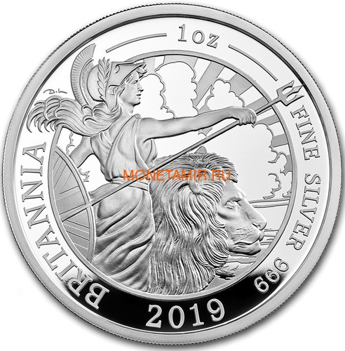 Великобритания 2 фунта 2019 Британия (GB 2£ 2019 Britannia 1 Oz Silver Coin).Арт.67 (фото)