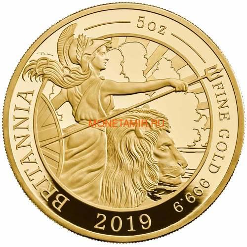 Великобритания 500 фунтов 2019 Британия (GB 500£ 2019 Britannia 5 Oz Gold Proof Coin).Арт.67 (фото)