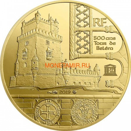 Франция 50 евро 2019 Башня Белем Васко де Гама Корабль (France 50E 2019 Tower Belem Vasco de Gama Gold Proof Coin).Арт.67 (фото)