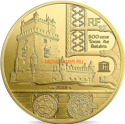 Франция 200 евро 2019 Башня Белем Васко де Гама Корабль (France 200E 2019 Tower Belem Vasco de Gama Gold Proof Coin).Арт.67 (фото)
