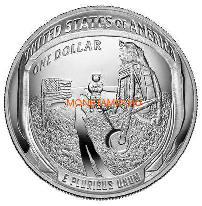 Соединенные Штаты Америки 1 доллар 2019 Высадка на Луну 50 лет Аполлон 11 Космос (2019 USA 1$ Apollo 11 Moon Landing 50th Anniversary Silver Coin Proof).Арт.002067855894/67