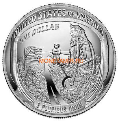 Соединенные Штаты Америки 1 доллар 2019 Высадка на Луну 50 лет Аполлон 11 Космос (2019 USA 1$ Apollo 11 Moon Landing 50th Anniversary Silver Coin Proof).Арт.002067855894/67 (фото)