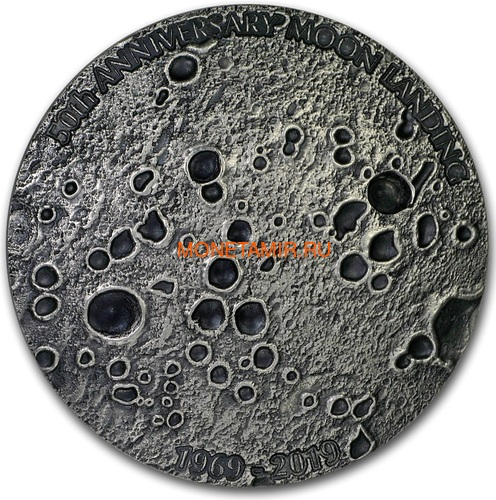 Конго 20 франков 2019 Высадка на Луну 50 лет Выпуклая Космос (Congo 20 Francs 2019 Moon Landing 50th Anniversary 1 oz Silver Domed Coin).Арт.67