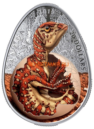 Канада 20 долларов 2019 Динозавр Гадрозавр (Canada 20$ 2019 Hatching Hadrosaur Glow-in-the-Dark Coin).Арт.67 (фото)