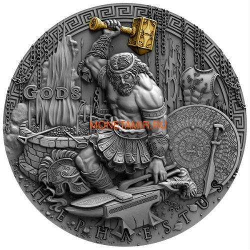 Ниуэ 2 доллара 2019 Гефест Бог Кузнецов (Niue 2019 2$ Hephaestus God of Blacksmiths Gods 2 oz Antique Finish Silver Coin).Арт.67 (фото)