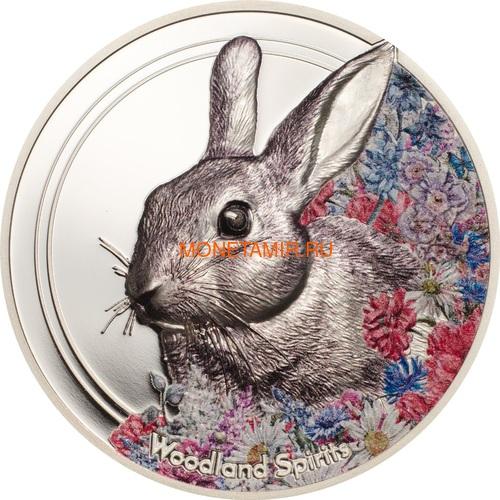 Монголия 500 Тугриков 2019 Заяц серия Woodland Spirits (Mongolia 500T 2019 Woodland Spirits Rabbit 1 oz Silver Coin).Арт.67