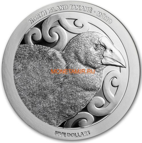 Новая Зеландия 5 долларов 2019 Птица Такахе (New Zealand 5$ 2019 North Island Takahe Silver Proof Coin).Арт.67 (фото)