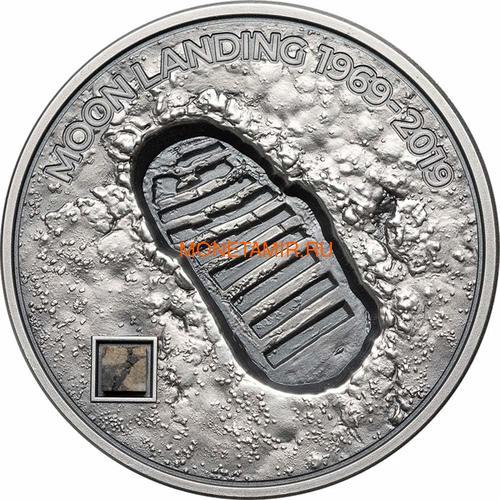 Острова Кука 5 долларов 2019 Высадка на Луну След Метеорит ( Cook Islands 5$ 2019 Moon Landing Footprint Meteorite 1 Oz Silver Coin).Арт.67 (фото)