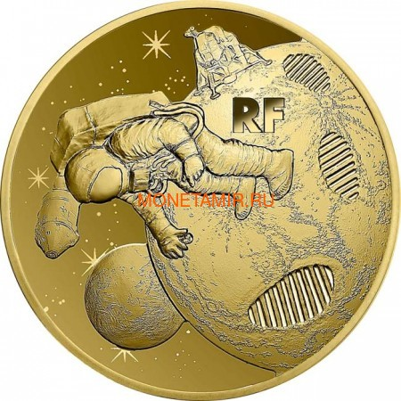 Франция 50 евро 2019 Высадка на Луну 50 лет Космос (France 50E 2019 Moon Landing 50th Anniversary Gold Coin).Арт.67 (фото)