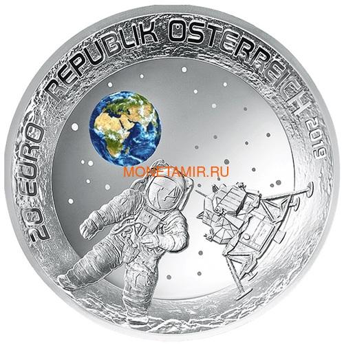 Австрия 20 евро 2019 Высадка на Луну 50 лет Космос Вогнутая Форма (Austria 20E 2019 Moon Landing 50th Anniversary Silver Concave Coin).Арт.67 (фото)