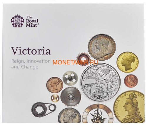 Великобритания 5 фунтов 2019 Королева Виктория 200 лет Корабль Паровоз Велосипед (GB 5£ 2019 200th Anniversary of the Birth of Queen Victoria Brilliant Uncirculated Coin) Блистер.Арт.67 (фото)