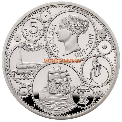 Великобритания 5 фунтов 2019 Королева Виктория 200 лет Корабль Паровоз Велосипед Пьедфорт (GB 5£ 2019 200th Anniversary of the Birth of Queen Victoria Silver Proof Piedfort Coin).Арт.67
