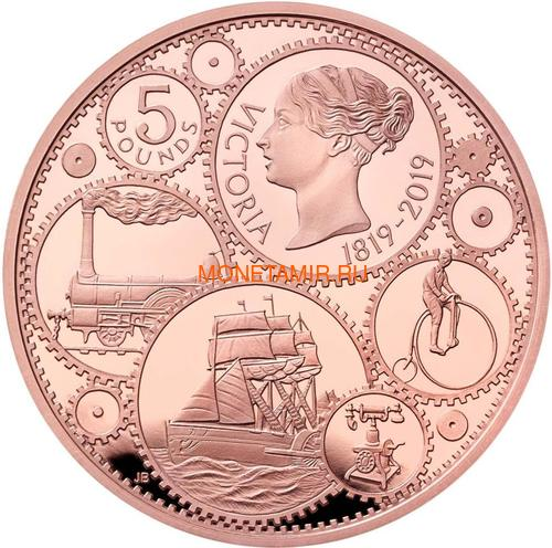 Великобритания 5 фунтов 2019 Королева Виктория 200 лет Корабль Паровоз Велосипед (GB 5£ 2019 200th Anniversary of the Birth of Queen Victoria Gold Proof Coin).Арт.67 (фото)