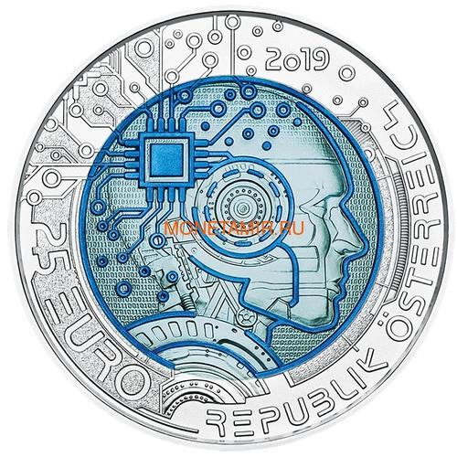 Австрия 25 евро 2019 Искусственный Интеллект (Austria 25 euro 2019 Artificial Intelligence Silver Niobium Coin).Арт.67 (фото)