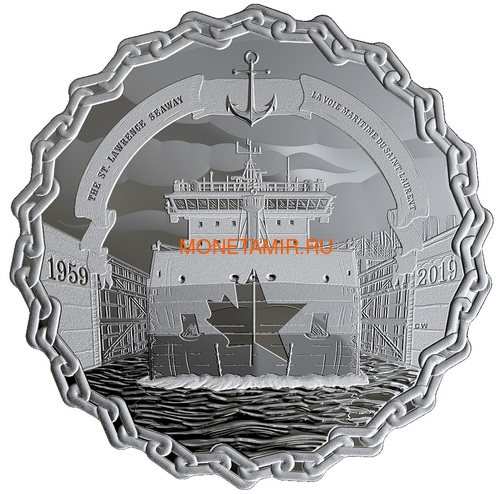 Канада 30 долларов 2019 Морской Путь Святого Лаврентия 60 лет Корабль Якорь Шлюз (Canada 30$ 2019 The 60th Anniversary of the St. Lawrence Seaway Ship 2Oz Silver Coin).Арт.67 (фото)