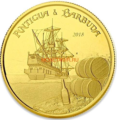 Антигуа и Барбуда 10 долларов 2018 Корабль Рамраннер (Antigua&Barbuda 10$ 2018 Ship Rum Runner 1Oz Gold Coin).Арт.67 (фото)
