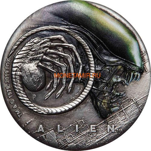 Тувалу 2 доллара 2019 Чужой НЛО Космос (Tuvalu 2$ 2019 Alien 40th Anniversary 2oz Silver Antiqued Coin).Арт.67 (фото)