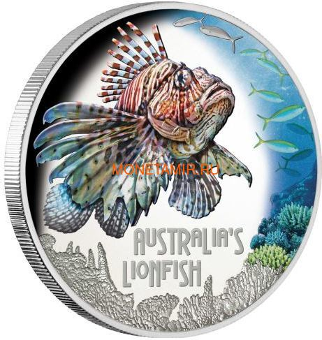 Тувалу 1 доллар 2019 Рыба Крылатка серия Смертельно Опасные (Tuvalu 1$ 2019 Deadly Dangerous LionFish 1Oz Silver Coin).Арт.67 (фото)
