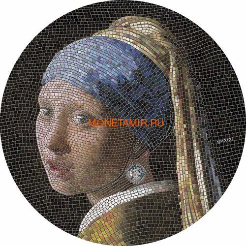 Палау 20 долларов 2019 Девушка с Жемчужной Серёжкой Ян Вермеер серия Великое Увлечение Микромозаикой (Palau 20$ 2019 Girl Pearl Earring Vermeer Great Micromosaic Passion 3 Oz Silver Coin).Арт.65 (фото)