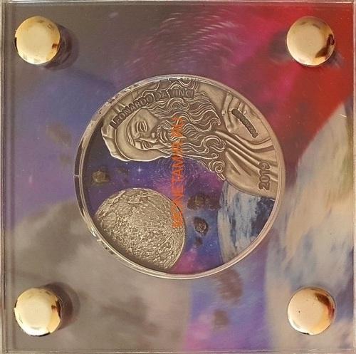 Гана 5 седи 2019 Леонардо да Винчи Вселенная Космос Метеориты (Gana 5 cedis 2019 Leonardo da Vinci Space Meteorite Northwest Africa 1oz Silver Coin).Арт.65