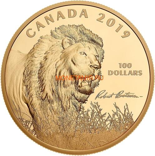 Канада 100 долларов 2019 Лев Художник Роберт Бейтман (Canada 100$ 2019 Robert Bateman Into The Light Lion 10 oz Silver Coin Gold Plating).Арт.65 (фото)