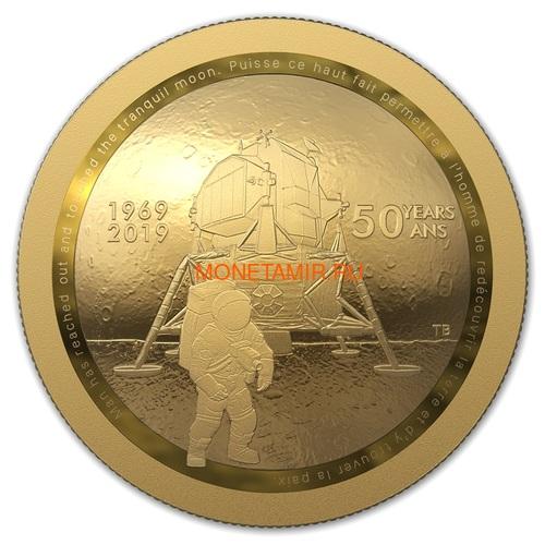 Канада 100 долларов 2019 Аполлон 11 Высадка на Луну 50 лет Космос Выпуклая Форма (Canada 100$ 2019 Apollo 11 Moon Landing 50th Anniversary Gold Coin).Арт.65 (фото)