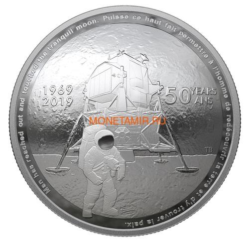 Канада 25 долларов 2019 Аполлон 11 Высадка на Луну 50 лет Космос Выпуклая Форма (Canada 25$ 2019 Apollo 11 Moon Landing 50th Anniversary Silver Coin).Арт.65 (фото)