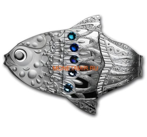Камерун 2000 франков 2018 Рыба Загадать Желание Набор 3 Монеты (Cameroon 2000 Francs 2018 Make a Wish Fish 3D Swarovski Silver Coin Set).Арт.66 (фото)