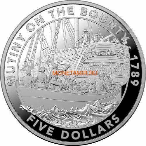 Австралия 5 долларов 2019 Мятеж на Баунти Корабль (Australia 5$ 2019 Mutiny on the Bounty Ship 1 oz Silver Coin).Арт.65 (фото)
