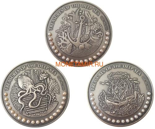 Гана 3х5 седи 2019 Морские Сокровища Корабль Якорь Осьминог Жемчуг Набор 3 монеты (Ghana 3x5 Cedis 2019 Treasures of the Deep Sea Ship Anchor Octopus Pearls Silver Coin Set).Арт.002261357240/65 (фото)