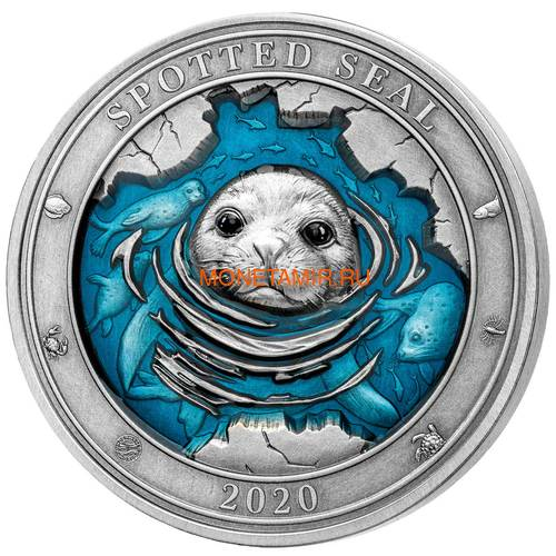 Барбадос 5 долларов 2020 Пятнистый Тюлень Подводный Мир (Barbados 5$ 2020 Spotted Seal Underwater World 3oz Silver).Арт.65 (фото)