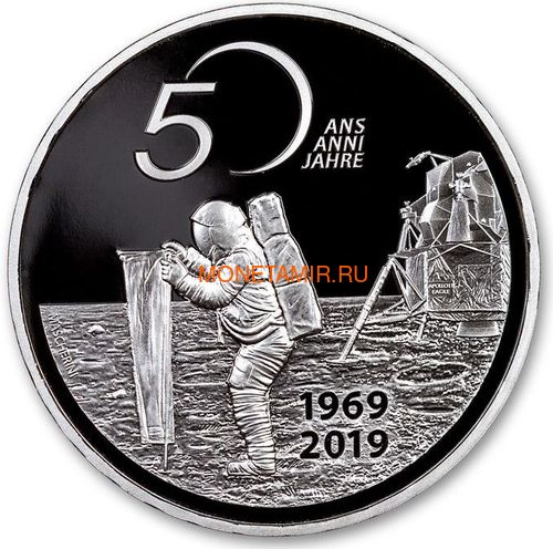 Швейцария 20 франков 2019 Аполлон 11 Высадка на Луну 50 лет Космос (Switzerland 20 Francs 2019 Apollo 11 Moon Landing 50th Anniversary Silver Coin).Арт.65 (фото)