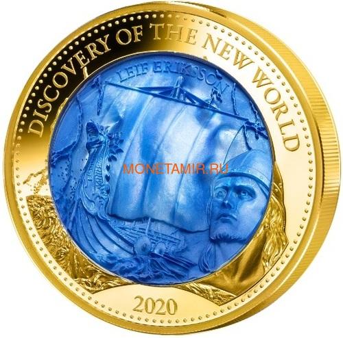 Соломоновы Острова 100 долларов 2020 Лейф Эрикссон Открытие Нового Мира Корабль Перламутр (Solomon Isl 100$ 2020 Discovery of the New World Leif Erikson Mother of Pearl Gold Coin Proof).Арт.25/90 (фото)