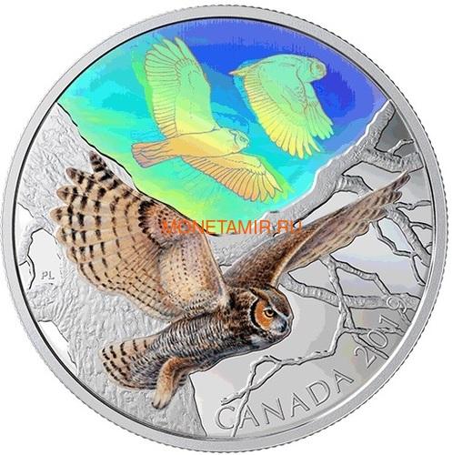 Канада 30 долларов 2019 Большая Рогатая Сова Величественные Птицы в Движении Голограмма (Canada 30$ 2019 Majestic Birds in Motion Great Horned Owls 2 oz Silver Hologram Coin).Арт.65 (фото)