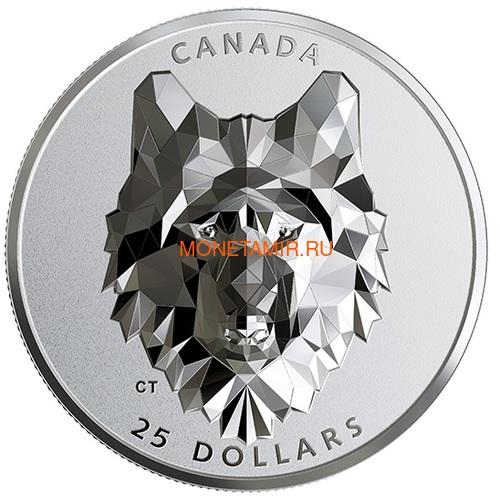 Канада 25 долларов 2019 Волк Многогранная Голова (Canada 25$ 2019 Wolf Multifaceted Animal Head 1 oz Silver Coin).Арт.65 (фото)