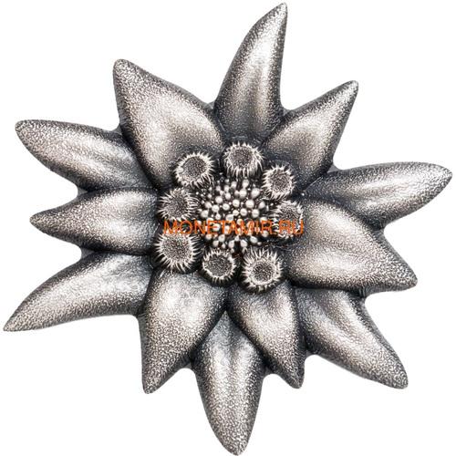 Монголия 500 тугриков 2019 Эдельвейс Горная Звезда Фигурка (Mongolia 500T 2019 Edelweiss Mountain Star 1 oz Silver Coin).Арт.65 (фото)