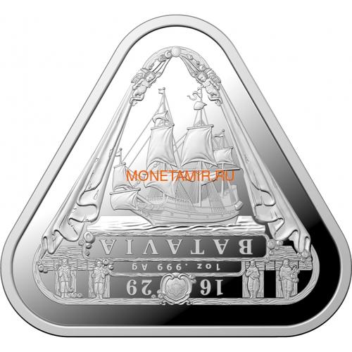 Австралия 1 доллар 2019 Корабль Батавия Австралийские Кораблекрушения (Australia 1$ 2019 Batavia Australian Shipwrecks First Triangular Bullion 1 oz Silver Coin).Арт.65 (фото)