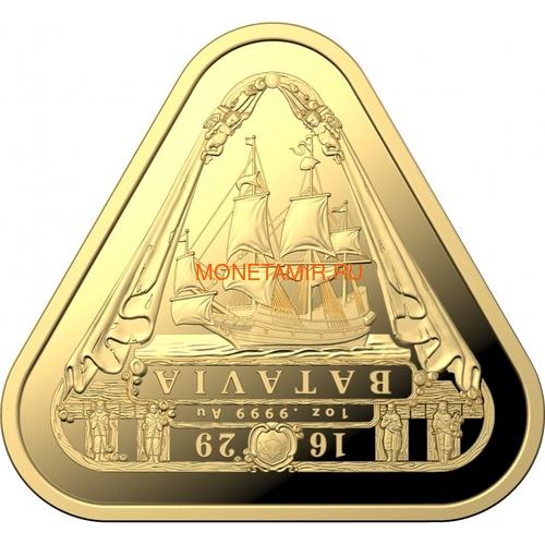 Австралия 100 долларов 2019 Корабль Батавия Австралийские Кораблекрушения (Australia 100$ 2019 Batavia Australian Shipwrecks First Triangular Bullion 1 oz Gold Coin).Арт.65 (фото)
