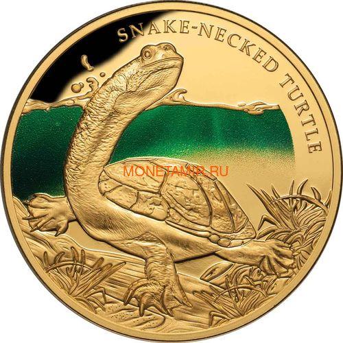 Ниуэ 100 долларов 2020 Змеиношеяя Черепаха Замечательные Рептилии (Niue 100$ 2020 Remarkable Reptile Snake Neck Turtle 1Oz Gold Proof).Арт.65 (фото)