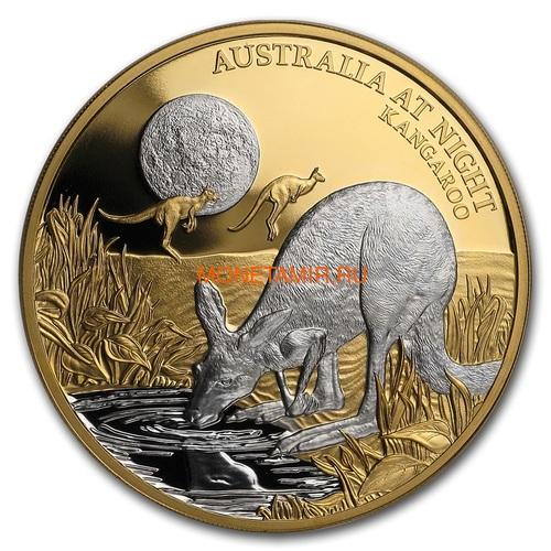 Ниуэ 100 долларов 2019 Ночная Австралия Кенгуру (Niue 100$ 2019 Australia at Night Kangaroo 1oz Gold Proof Coin).Арт.65 (фото)