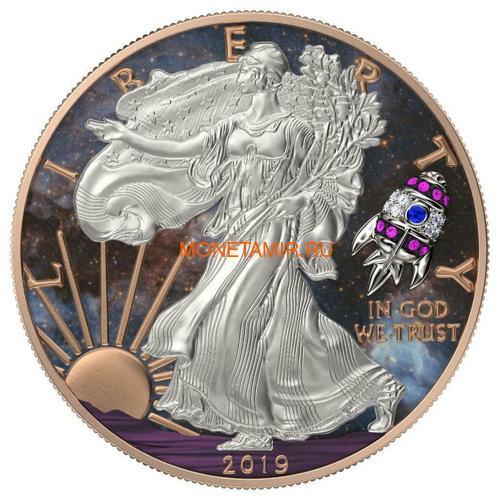 Соединенные Штаты Америки 1 доллар 2019 Космическая Ракета Свобода (2019 USA 1$ Liberty Space Rocket 1oz Silver Coin).Арт.65 (фото)