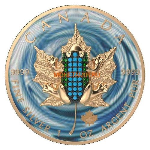Канада 5 долларов 2019 Кленовый Лист Лягушка (2019 Canada 5$ Maple Leaf Bejeweled Frog 1oz Silver Coin).Арт.65 (фото)