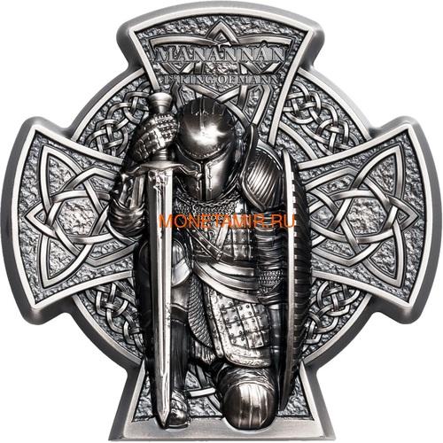 Остров Мэн 5 фунтов 2019 Мананнан Первый Король Острова Мэн Кельтский Крест (Isle of Man 5£ 2019 Manannán 1st King of Mann 3 Oz Coin Silver).Арт.65 (фото)