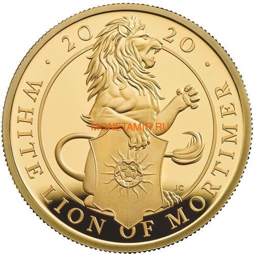 Великобритания 100 фунтов 2020 Белый Лев Мортимера серия Звери Королевы (GB 100£ 2020 Queen's Beast White Lion of Mortimer Gold Coin).Арт.65 (фото)