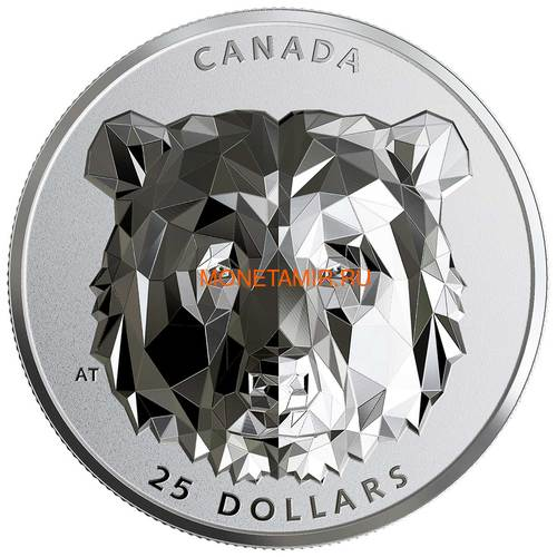 Канада 25 долларов 2019 Медведь Гризли Многогранная Голова (Canada 25$ 2019 Grizzly Bear Multifaceted Animal Head 1 oz Silver Coin).Арт.65 (фото)